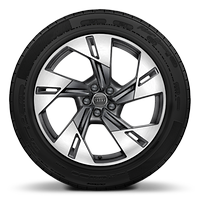 Cast alloy wheels, 5-arm dynamic style, Contrast Gray, partly polished, 9J x 20 with 255/50 R20 tires