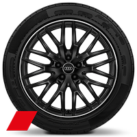 Audi Sport cast alloy wheels, 10-spoke Y-style, Glossy Black, diam.- turned, 8J x 19 with 235/40 R19 tires