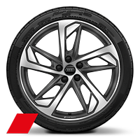 Alloy wheels, 5-arm trapezoidal style, Matte Titan. Gray, diam.-turn.,8.0Jx19, 235/35 R19 tires, Audi Sport GmbH