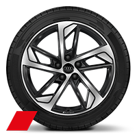 Audi Sport cast alloy wheels, 5-arm trapezoidal style, Black, diam.-turned, 7.5J x 18 with 225/40 R18 tires