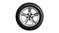 Complete winter wheel in 5-arm rotor design, brilliant silver, 6.5 J x 16, 205/55 R16 91H, right