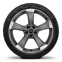 "19"" x 8.5J '5-arm rotor' design alloy wheels in matt titanium-look, diamond cut finish with 245/35 R19 tyres"