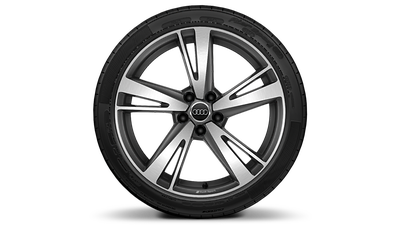 "19"" 5-arm-blade design titanium finish wheels"