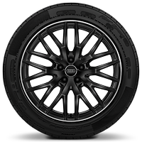 Audi Sport cast alloy wheels, 10-spoke Y-style, Black, diamond-turned, 8J x 19 with 235/40 R19 tires
