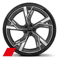 Cast alloy wheels, 5-V-spoke trapezoid. style, Matte Titanium Look, diamond- turned, 10.5J x 22, 285/30 R22 tires