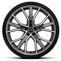 Cast aluminium alloy wheels, 5-V-spoke design, star design in matt titanium look, mach.-pol., size 9.5 J x 21