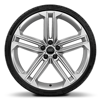 "21"" alloy wheels in 5-double-spoke star style design with 265/35 tyres"