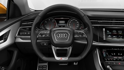Sport contour leather steering wheel in 3-spoke design with multifunction plus and shift paddles, flattened at the bottom