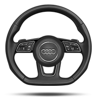 Multifunction sport steering wheel in leather, flat bottom with shift paddles.