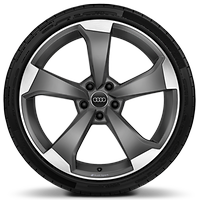 "20"" x 9.0J '5-arm-rotor' design alloy wheels, matt titanium look with 265/30 R20 tyres"