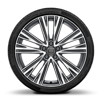 "20"" x 8.5J '5-V-spoke' design, contrasting grey, partly polished alloy wheels with 255/40 R20 tyres"