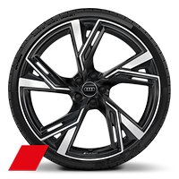 Cast alloy wheels, 5-V-spoke trapezoid. style, Glossy Anthracite Black, diam.- turned, 10.5J x 22, 285/30 R22 tires