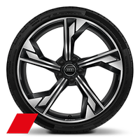 Audi Sport  5-arm flag style, Glossy Anthracite Black, diam.-turned, 9J x 20 with 275/30 R20 tires