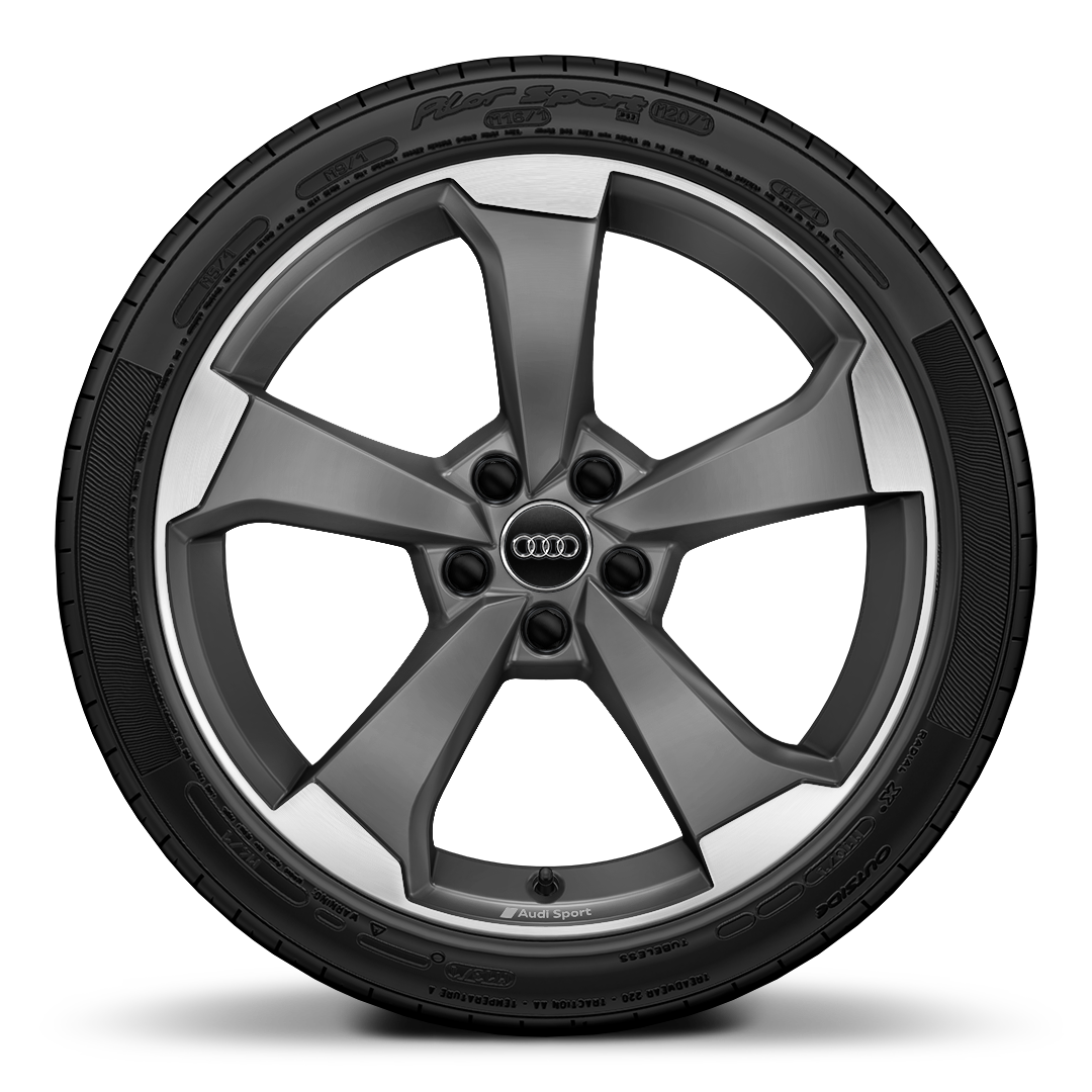 Audi Sport cast aluminium wheels, 5-arm rotor design, matt titanium look, gloss turned finish, size 8.5 J x 19