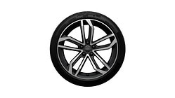 Complete summer wheel in 5-arm sidus design, matt black, high-gloss turned finish, 8.5 J x 19, 245/35 R19 93Y XL