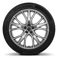 Audi Sport cast alloy wheels, 5-V-spoke star style, Platinum Look, diamond-turned, 9.5J x 21