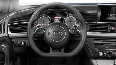 Leather-covered multifunction sports steering wheel, 3-spoke, flat-bottomed, with shift paddles