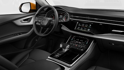 Upper and lower interior elements in leather