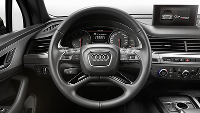 Leather-wrapped steering wheel, 4-spoke, with multifunction Plus and shift paddles, including heating