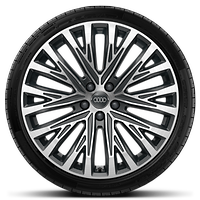 "20"" alloy wheels in 20-spoke structure design, contrasting grey, partly polished with 265/40 R20 tyres"
