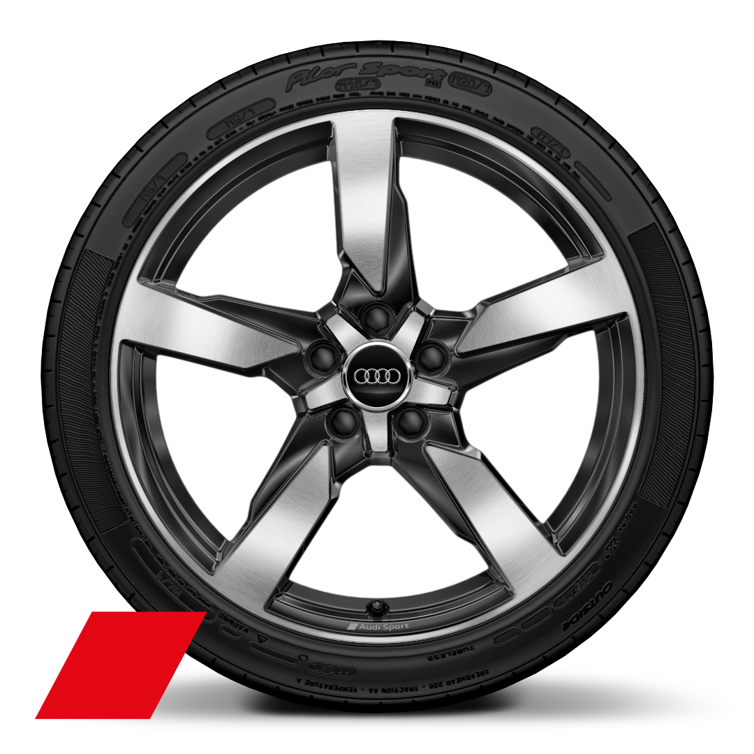 "19"" x 9J 5-arm polgon style, glossy anthracite black, diamond cut with 245/35 R19 tyres"