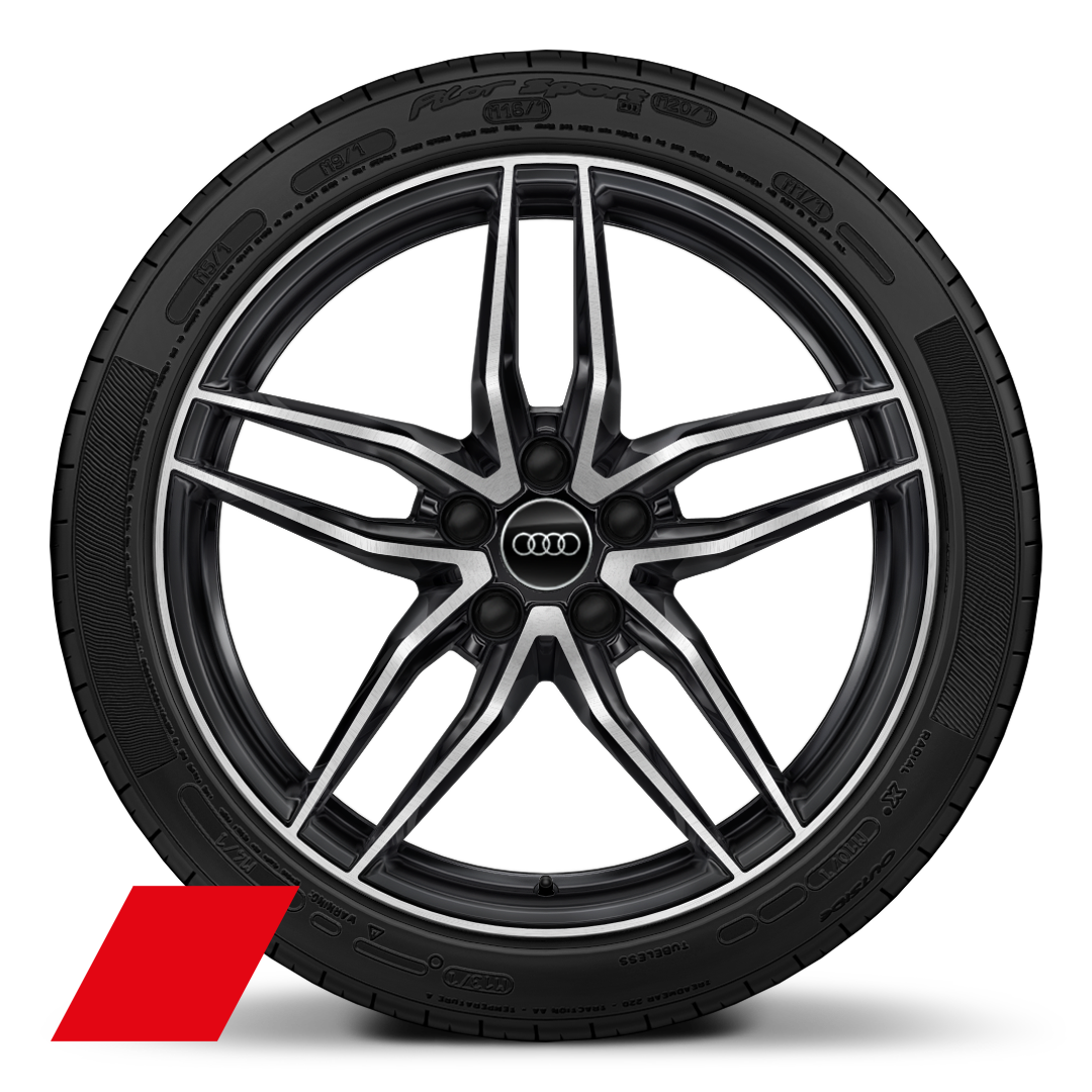 "19"" 5-double-spoke design bi-color anthracite finish wheels"