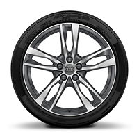 "19"" x 8.5J '5-twin-spoke' design, contrasting grey, partly polished alloy wheels with 245/45 R19 tyres"