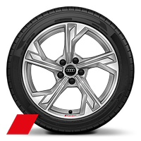 Alloy wheels, 5-arm flag style, Platinum Gray, diam.-turned, 8.0J x 18, 225/40 R18 tires, Audi Sport GmbH