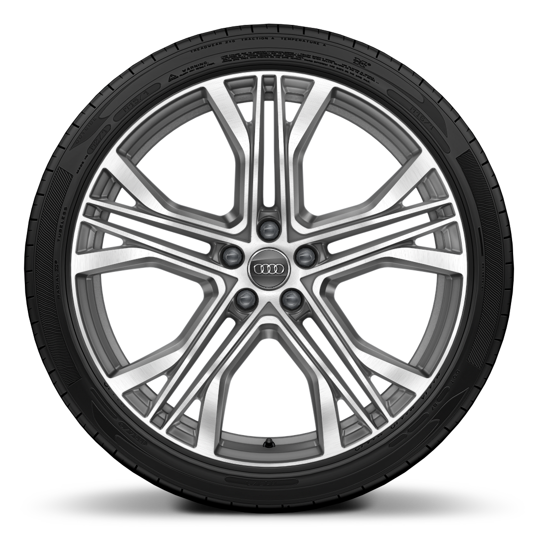 Forged alloy wheels, 5-V-spoke star style, Contrast Gray, partly polished, 8.5J x 21