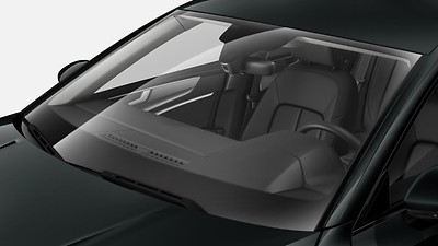 Heated and heat-reflecting windshield, acoustic glass, heated wirelessly