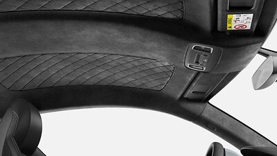 Headliner in Black Alcantara® with diamond stitching