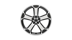 Cast aluminium wheel in 5-arm latus design, matt black, high-gloss turned finish, 8 J x 19