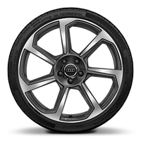 Alloy wheel 9J x 20, 7-spoke rotor style, Matte Titanium Grey, diamond-turned with 255/30 R20 tire