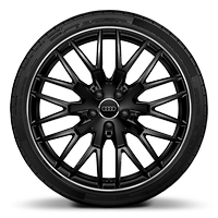 Audi Sport cast alloy wheels, 10-Y- spoke style, Glossy Black, diamond- turned, 9J x 20 with 255/30 R20 tires