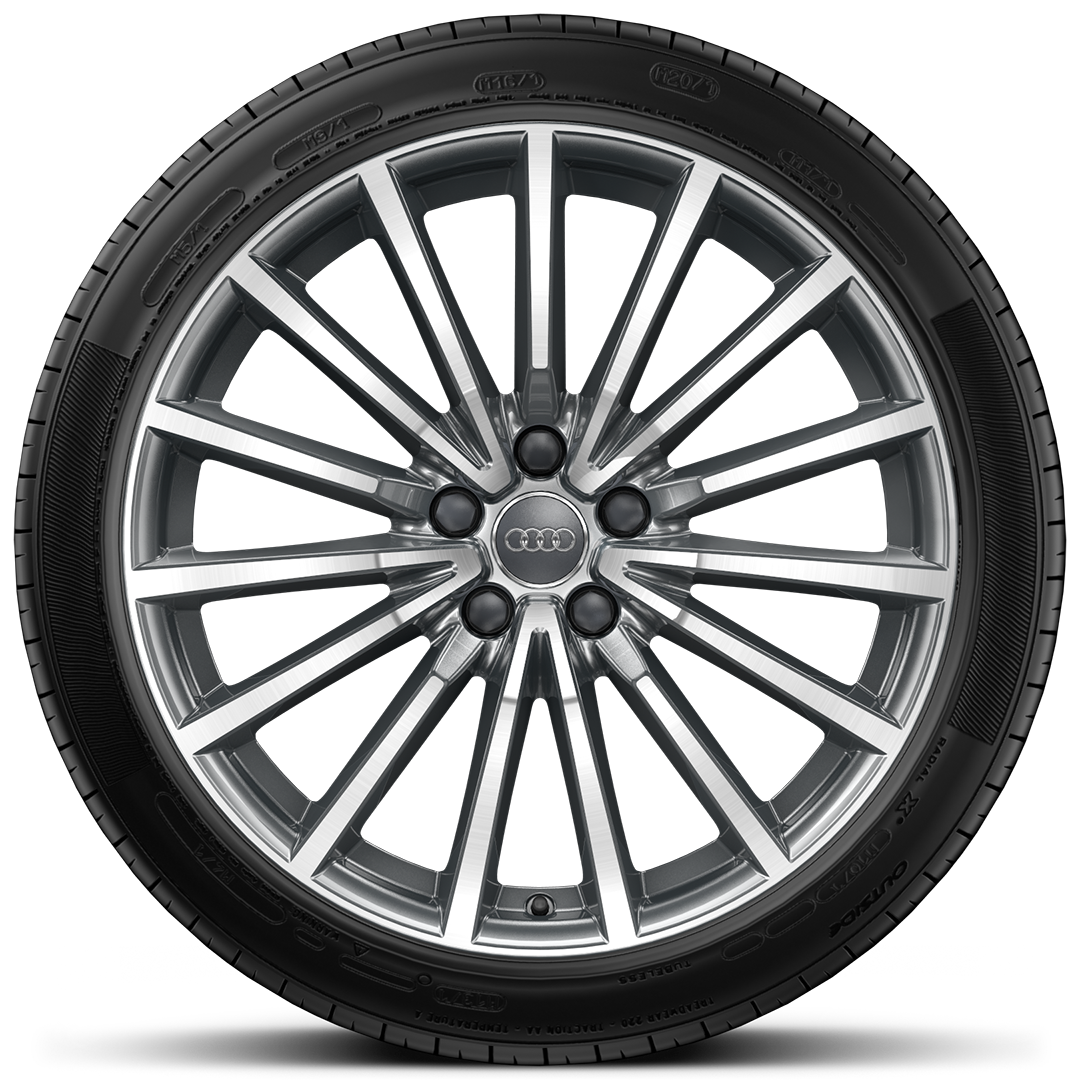 "19"" x 8.5J 'multi-spoke' design alloy wheels, contrasting grey, partly polished with 255/35 R19 tyres"