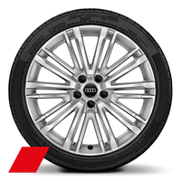 Audi Sport cast alloy wheels, 10-spoke V-style, diamond-turned, size 8.5J x 19, model-specific tires