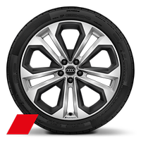 Audi Sport cast alloy wheels, 5-double- spoke module style, Matte Structure Gray inserts, 8.5Jx20, 255/40 R20 tires