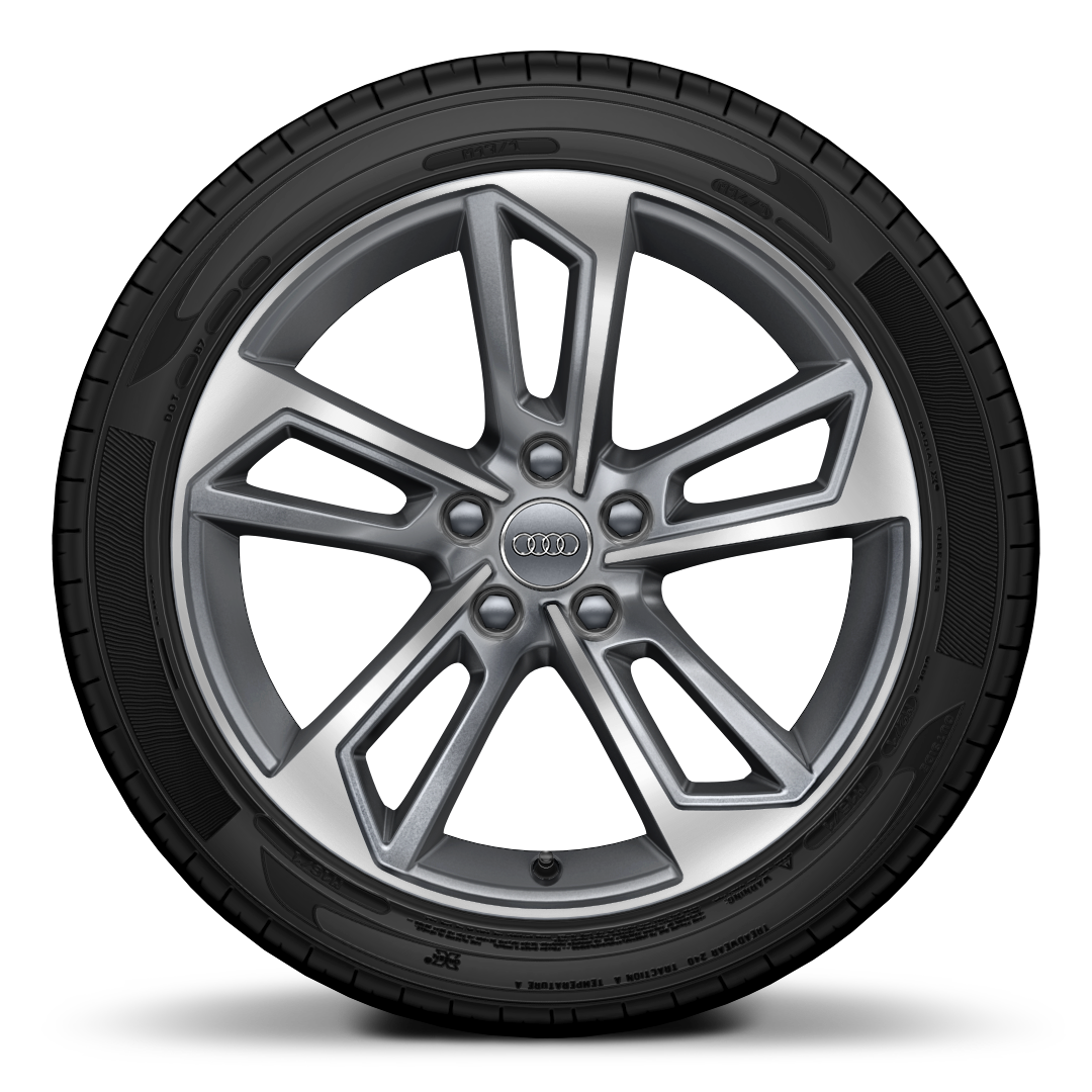 Cast alloy wheels, 5-double-spoke style, Contrast Gray, partly polished, 8J x 18