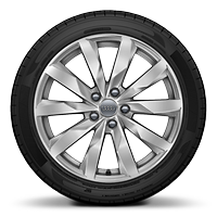 Cast alloy wheels, 10-spoke dynamic style, partly polished, 8J x 18 with 245/40 R18 tires