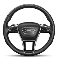 Leather-wrapped multi-function sports steering wheel with shift paddles