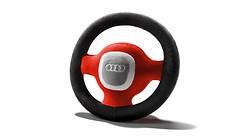Audi Plüschlenkrad, grau/rot/schwarz
