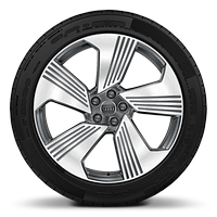 "21"" x 9.5J '5-arm turbine' design, contrasting grey alloy wheels with 265/45 R21 tyres"
