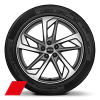 Audi Sport cast alloy wheels, 5-arm trapezoidal style, Matte Titanium Look, diam.-turn., 8.5J x 19, 255/45 R19 tires