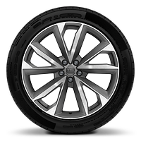 Cast alloy wheels, 5-double-spoke V-style, Contrast Gray, part. polished, 9.5J x 21 with 285/45 R21 tires