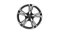 Cast aluminium wheel in 5-arm falx design, matt black, high-gloss turned finish, 8 J x 20