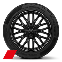 Audi Sport cast alloy wheels, 10-spoke Y-style, Glossy Black, diam.- turned, 9J x 20, 285/45 R20 tires