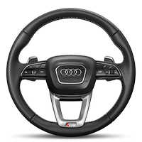 Heated 3-spoke, leather-covered multifunction steering wheel with shift paddles