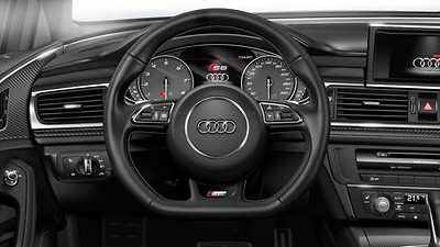 3-spoke leather multi-function flat-bottomed steering wheel with gear-shift paddles (automatic models only)