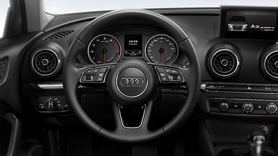 Leather-wrapped multi-function sports steering wheel, 3-spoke, with shift paddles