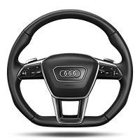 Flat-bottomed 3-spoke leather high multi-function steering wheel with shift paddles